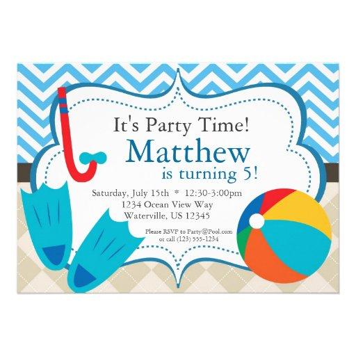 Pool Party Blue Chevron and Tan Argyle Birthday Invitations