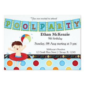 Pool Party (Boy) 13 Cm X 18 Cm Invitation Card