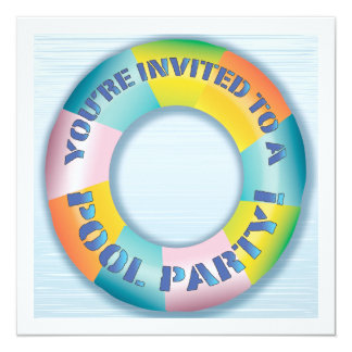 Pool Party Colorful Fun Float Invitation