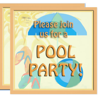 Pool Party Cute Sunny Invitation