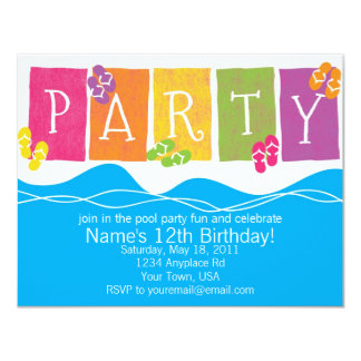 Pool Party Fun 11 Cm X 14 Cm Invitation Card