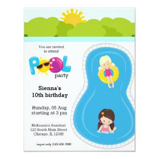 Pool Party girl 11 Cm X 14 Cm Invitation Card