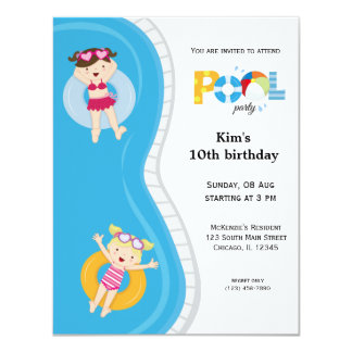 Pool Party (girl) Card