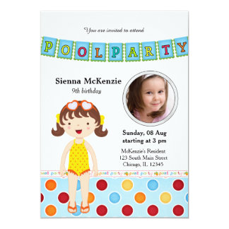 Pool Party (Girl) with a photo 13 Cm X 18 Cm Invitation Card