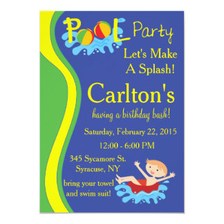 Pool Party Invitation for Boy