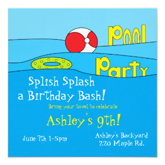 """""""Pool Party"""" Invitations"""