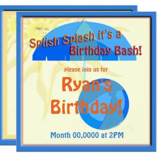 Pool Party Kids Birthday Splish Splash Invite