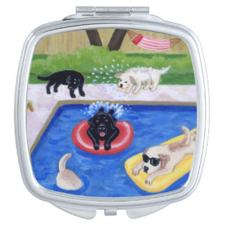 Pool Party Labradors Fun Painting Mirror For Makeup
