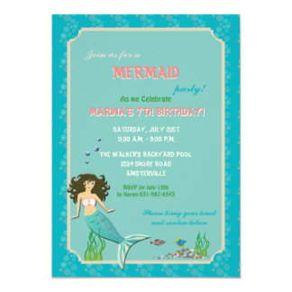 Pool Party Mermaid Invitation