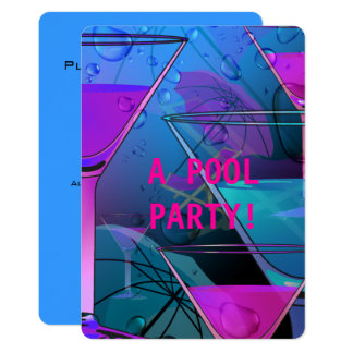 Pool Party Summertime Mixed Poolside Cocktail Card