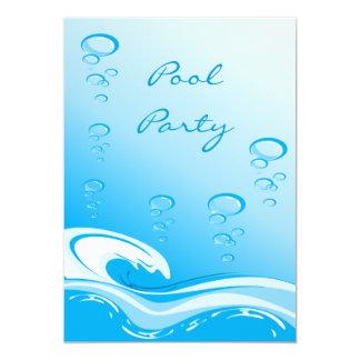 Pool Party Wave & Bubbles 13 Cm X 18 Cm Invitation Card