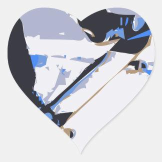 Pool Skating Skateboard Heart Sticker