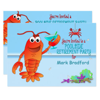 POOLSIDE  RETIREMENT PARTY INVITATION- LOBSTER CARD