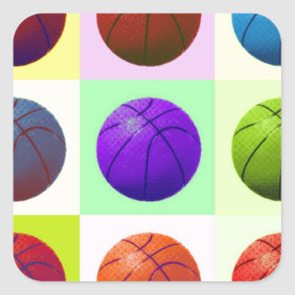 Pop Art Basketball Square Sticker