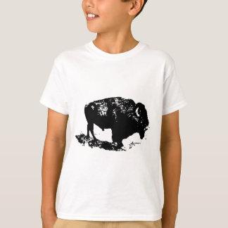Pop Art Black White Buffalo Bison Silhouette T-Shirt