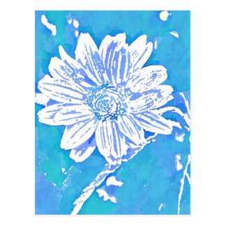 Pop Art Blue flower| Change of Address Postcard