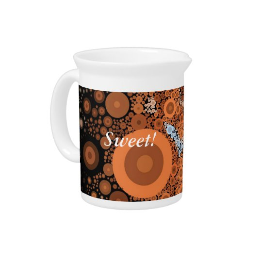 Pop Art Concentric Circles Floral Orange Pitcher