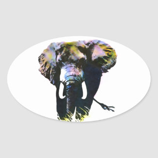 Pop Art Elephant Oval Sticker