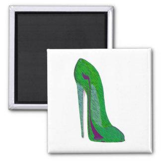 Pop-Art Green and Black Stiletto Shoe Refrigerator Magnet