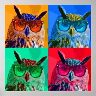 Pop art owl poster