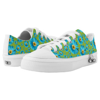 Pop Daisy Aqua Blue Printed Shoes