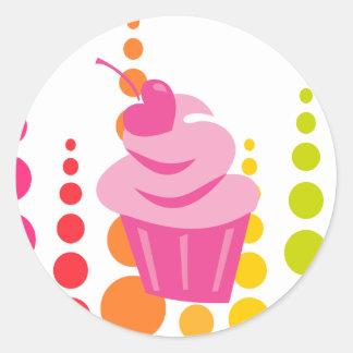 Pop Heart Cupcake Round Sticker