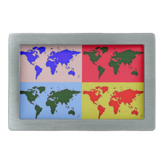 pop style world map belt buckles