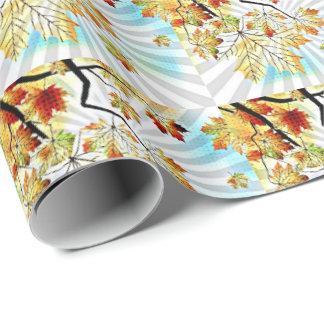 PopArt Fall Leaves Wrapping Paper
