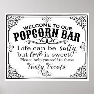 popcorn bar wedding sign elegant vintage poster