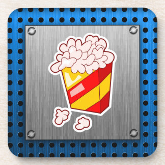 Popcorn; Brushed metal-look Coaster