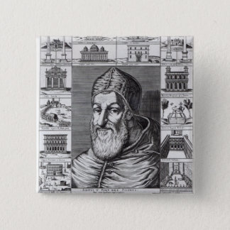 Pope Sixtus V, surrounded by the churches 15 Cm Square Badge