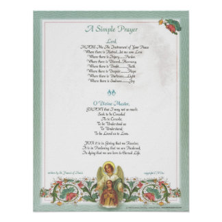 POPE=ST. FRANCIS SIMPLE PRAYER for PEACE PRAYER Poster