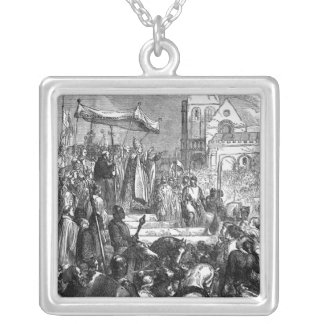 Pope Urban II  Preaching the First Crusade Silver Plated Necklace