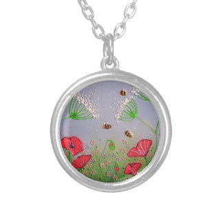 Poppies and Bees Round Pendant Necklace