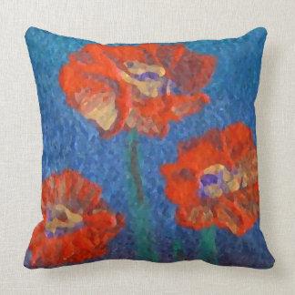 Poppies Garden Flowers Floral Decor Pillow