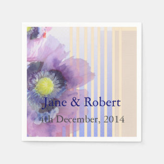 Poppies In Watercolor Wedding Paper Napkins