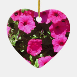 Popping Pink Pansies Ceramic Heart Decoration