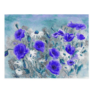 'Poppy Blue' Postcard