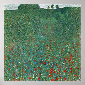 Poppy Field by Gustav Klimt, Vintage Art Nouveau Poster