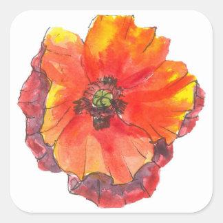 Poppy Flower spring painting Square Sticker