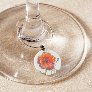 Poppy Flower spring painting Wine Charm