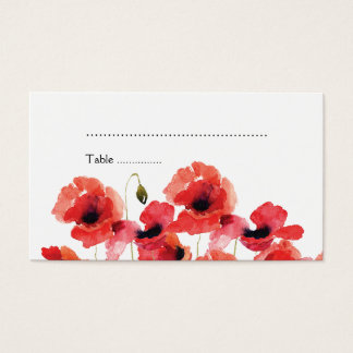 Poppy Flowers Wedding Escort Card