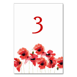 Poppy Flowers Wedding Table Number Table Cards
