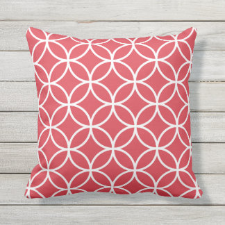Poppy Red Outdoor Pillows - Circle Trellis