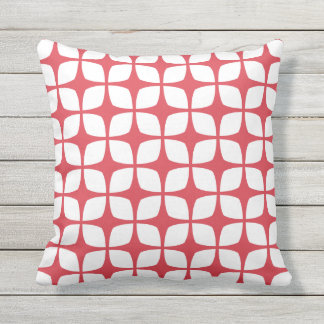 Poppy Red Outdoor Pillows - Modern Pattern