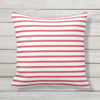 Poppy Red Summer Stripes Outdoor Pillows