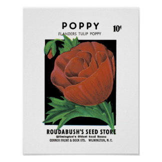 Poppy Seed Packet Label Poster