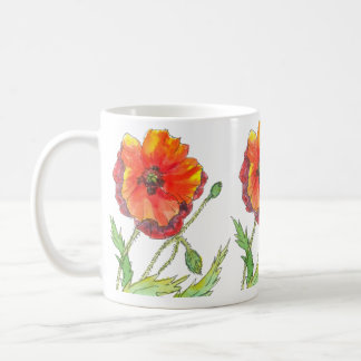 poppy spring red flower coffee mug