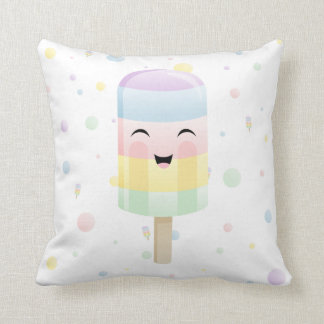 Popsicle with a Smile in Rainbow polka dots Throw Pillow