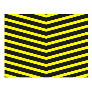 Popular Trendy Long Zig Zag Yellow black Stripes Postcard